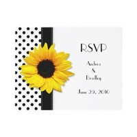 Black and White Polka Dot Wedding RSVP Card Invitations from Zazzle.com