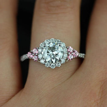 Amora 7mm 14kt White Gold Round FB Moissanite, Pink Topaz, and Diamonds Halo Heart Engagement Ring(Other metals and stone options available)