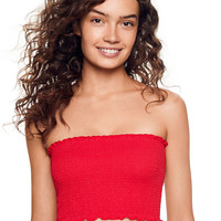 Cotton Smocked Tube Top - PINK - Victoria's Secret