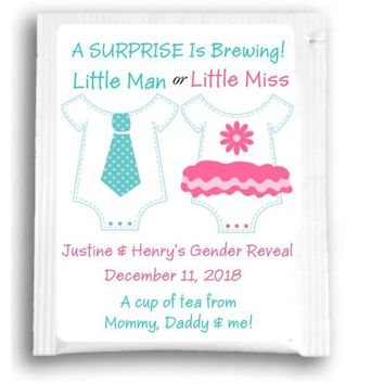 10 Gender Reveal Little Man or Little Miss Baby Shower Tea Favors