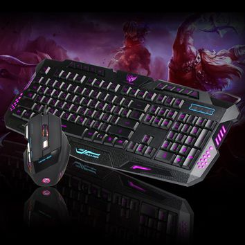 LED Gaming Wired 2.4G keyboard And 5500DPI Mouse Set to Computer Multimedia Gamer