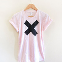 X Marks the Spot - Hand Stenciled Slouchy Crew Neck Rolled Cuffs Tee in Powder Pink - S M L XL 2XL 3XL 4XL