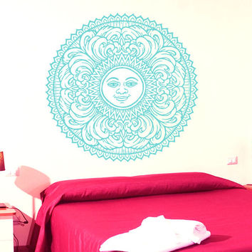 Mandala Wall Decal Ethnic Sunshine Stickers Vinyl Decals Sun Art Murals Home Decor Interior Design Dorm Sticker Bohemian Bedding Decor KY53
