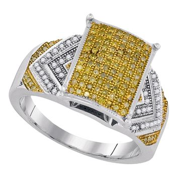10kt White Gold Womens Round Yellow Color Enhanced Diamond Rectangle Cluster Bridal Wedding Engagement Ring 3/8 Cttw