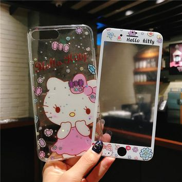 Hello kitty For iPhone 7 plus soft case + tempered glass film Cover for iPhone 8 7 6 6s plus cases clear cute cartoon screen
