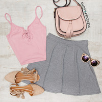 Alessa Skater Skirt - Gray