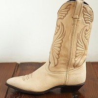 Free People Vintage Cream Leather Cowboy Boots