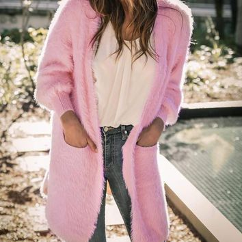 New Pink Pockets Long Sleeve Casual Fuzzy Teddy Sweater Cardigan