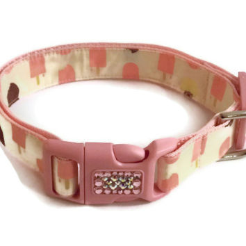Dog Collar - Ice Cream and Popsicle with Swarovski Crystals