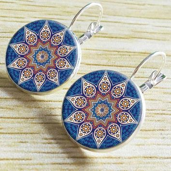 ac spbest Fashion 2016 yoga henna colorful statement jewelry earrings charm for om symbol mandala Zen Buddhism slope earrings