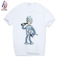 Hecoolba 2017 Men's Rick and Morty Funny Anime T-shirt Casual Short sleeve O-Neck homme Summer White T shirt Swag Tshirt HCP134