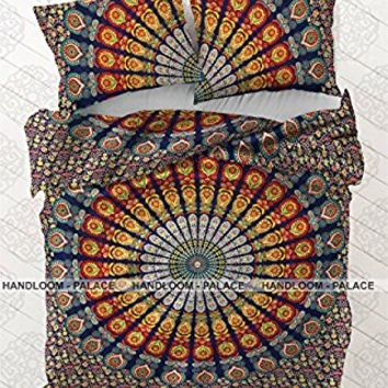 Indian Duvet Doona Cover Comforter Mandala Hippie Bohemian Queen Size Quilt Cover by Handloom-Palace , Free Boho Earining