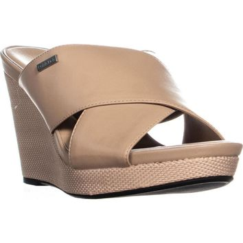 Calvin Klein Jacolyn Wedge Slip On Criss Cross Sandals, Desert Sand, 10 US / 40.5 EU