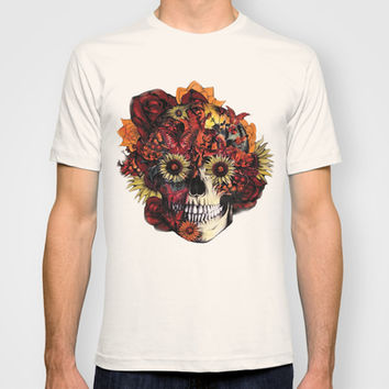 Full circle...Floral ohm skull T-shirt by Kristy Patterson Design