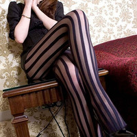 Bluelans Style Women's Sexy Wide Stripes Transparent Breathable Tights Stockings Pantyhose