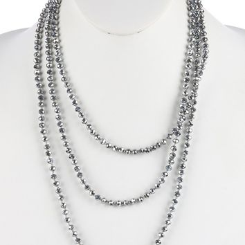 Sliver Iridescent Glass Bead Extra Long Wraparound Necklace