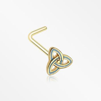 Golden Triquetra Trinity Knot L-Shaped Nose Ring