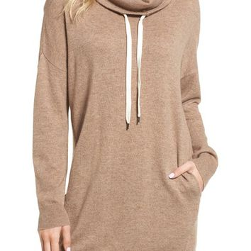 Splendid Wool Blend Drawstring Turtleneck Tunic | Nordstrom