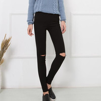 New Fashion 2016 High Elastic Cotton Women's Black High Waist Torn Jeans Ripped Hole Knee Skinny Pencil Pants Slim Capris JN080