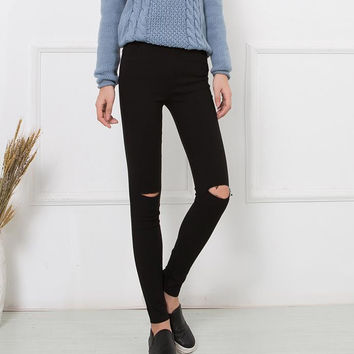 High Elastic Cotton Women's Black High Waist Torn Jeans Ripped Hole Knee Skinny Pencil Pants Slim Capris JN080