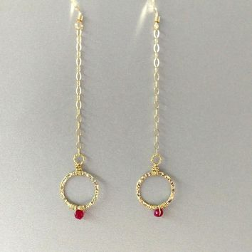 14 KT Gold Filled Hammered Wire Hot Pink Chalcedony Circle Earrings