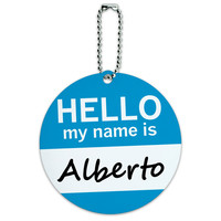 Alberto Hello My Name Is Round ID Card Luggage Tag