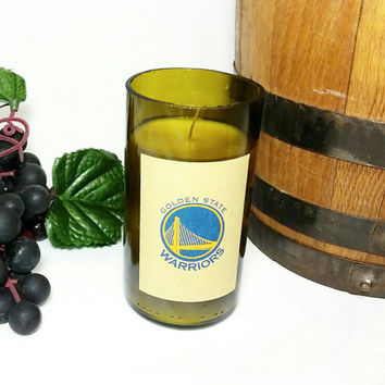 Recycled Miniature Wine Bottle Soy Wax Candle/Golden State Warriors/Repurposed Glass Bottle Candle/Obsession for Men Scented Candle/Sports