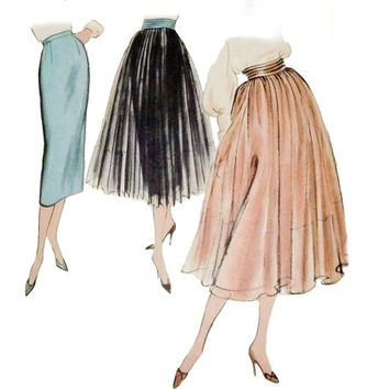 "Vogue 1950's Pattern 9210 Skirt with Detachable Overskirt ""Very Easy to Make"""