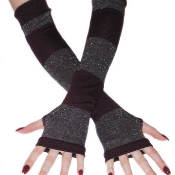 The Witches Brew - Striped Burgundy wine and silver metallic Arm Warmers  Fingerless Gloves  sweater sleeves