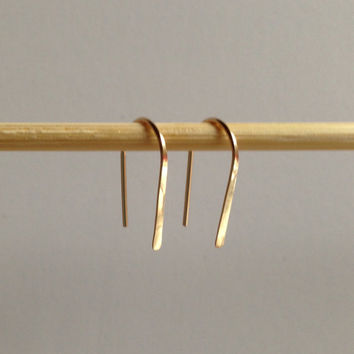 "Pair 3/4"" Gold Open Hoop Earrings, Lightweight Modern Minimalist Design, Simple Wire Hoops, Gold Hoops, Gold Filled Earrings"