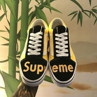 Supreme x Vans Black/Yellow Old Skool Shoes 36-44