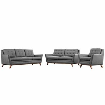 Beguile Living Room Set Upholstered Fabric Set of 3, Gray