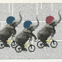 Illustration of cute baby Elephants riding their bicycles Print on Upcycle Vintage Page Book Print Art Print Dictionary Print Collage Print