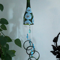 Glass Wind Chime, Recycled Green wine bottle wind chime, Lt. blue Flowers,  Sun catcher, Yard art, Patio decor, House warming
