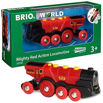 Brio World 33592 Mighty Red Action Locomotive   Battery Operated Toy Train with Light and Sound Effects for Kids Age 3 and Up: Toys & Games