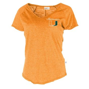 Official NCAA University of Miami Hurricanes The U UM U of M Canes Women's Tommy V-Neck T-Shirt