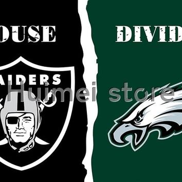 Oakland Raiders house Flag and Philadelphia Eagles divided flag decoration super fan customized banner