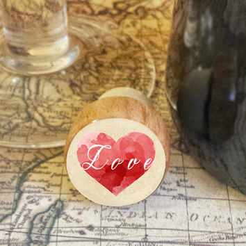 Wine Stopper, LOVE  Handmade Wood Cork, Water Color Heart Bottle Stopper, I Love You Gift, Wood Top Cork Stopper, Valentine's Day Gift