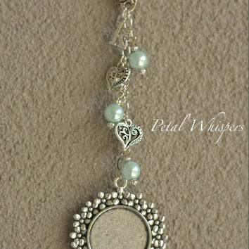 Mint Green Bridal Bouquet Photo Charm - Wedding Memorial Charm - Bouquet Picture Jewelry - Bridal Accessories