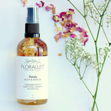 Petals Body & Hair Oil // Jasmine + Rose Infused Organic Body Oil, Organic Skincare. Dry body oil. Natural Vegan Skincare Haircare