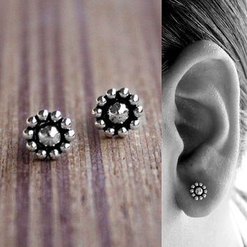 Tiny Flower Stud / Oxidized studs / Sterling Silver / Post Earrings / Tiny Stud Earrings / Silver flower Earrings / Small Post Earrings