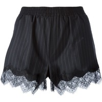 Gold Hawk lace trimmed hem pinstripe shorts