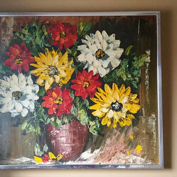 Mid Century Impressionist Original Oil Floral Painting Still Life  Red White and Yellow Zinnias G. De Ru