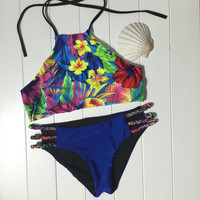 New Hot Floral Bikini Set Womens Swimsuit Beach Bathing Suits Summer Free Shipping