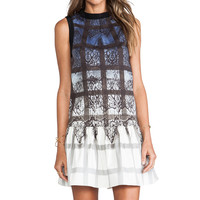 Tibi Lace Plaid Dress in Denim Multi from REVOLVEclothing.com