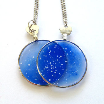Wedding Star Pendants - Set of Two - Custom Constellation Hand Painted Star Maps on Glass Lens