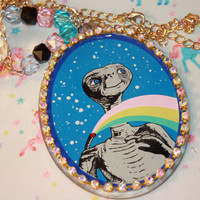 ET Necklace Awesome Huge Pendant Long chain style Retro Kitschy style Vintage collectable