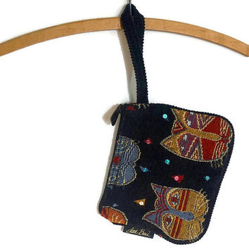 Laurel Burch Wristlet,Feline Faces Purse,Tapestry Bag,Vintage Purse, Small Bag,Fabric Purse,Small Handbag or Clutch,Cat Lover's Gift,Cat Bag