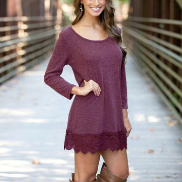 Gorgeous maternity mini dress / top with crochet trim