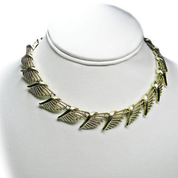 Coro Fringe Necklace Wing Design Gold Tone Adjustable